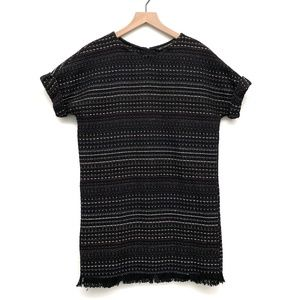 Zara Black Shift Dress w Fringe - Size XS